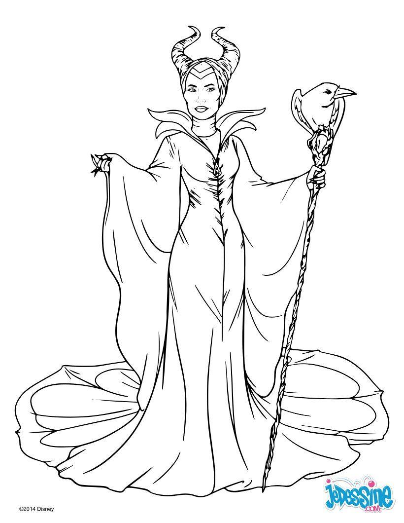 Coloriage sur le conte Disney de Maléfique avec ici la reine Maléfique Un beau coloriage