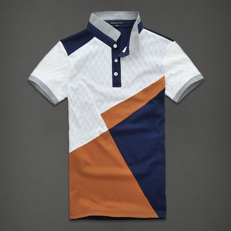 2013 summer male knitted t shirt short sleeve shirt men's clothing color block slim fashionable casual t-shirt short-sleeve