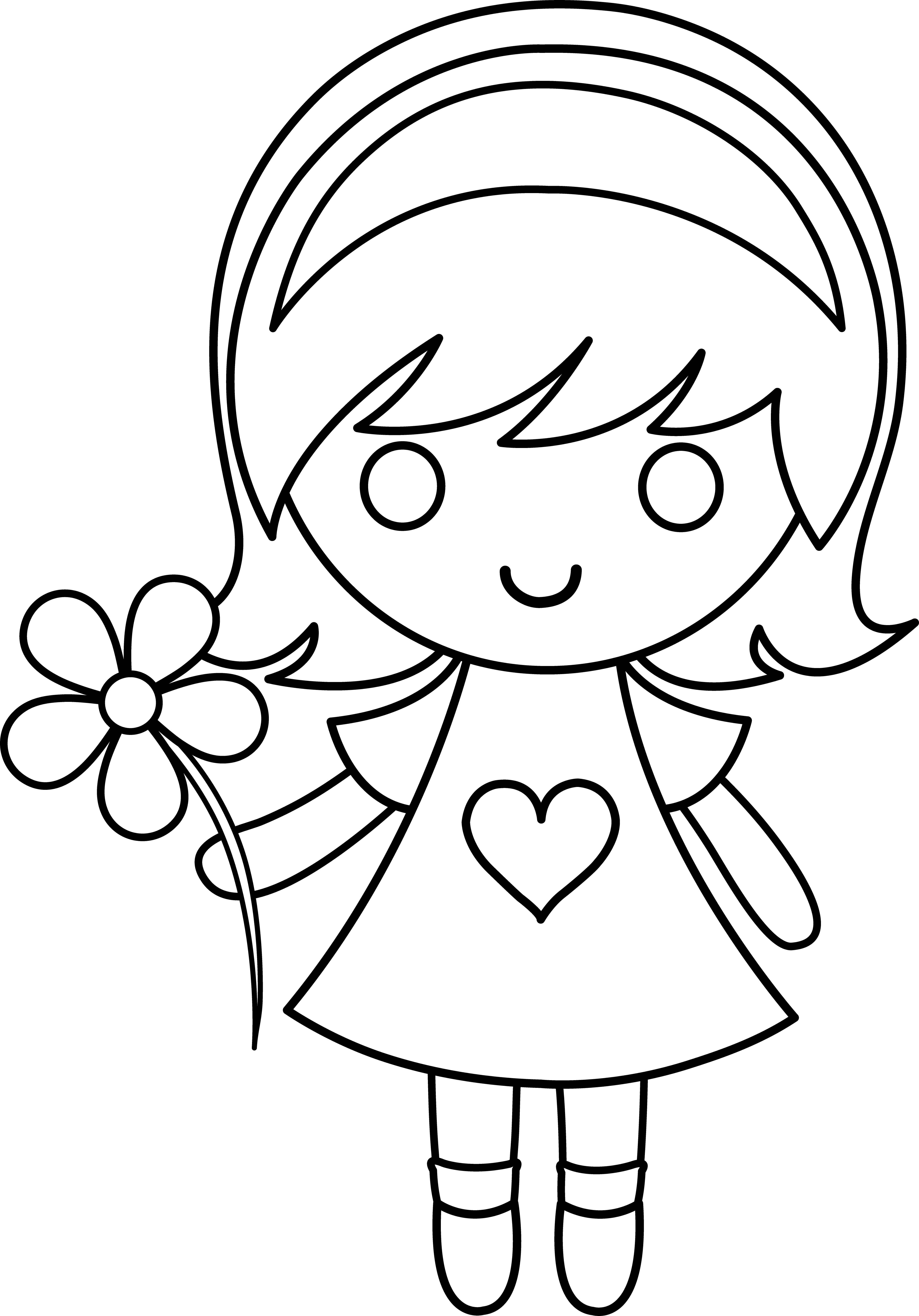 Daisy Girl Colorable Line Art Free Clip Art and coloring