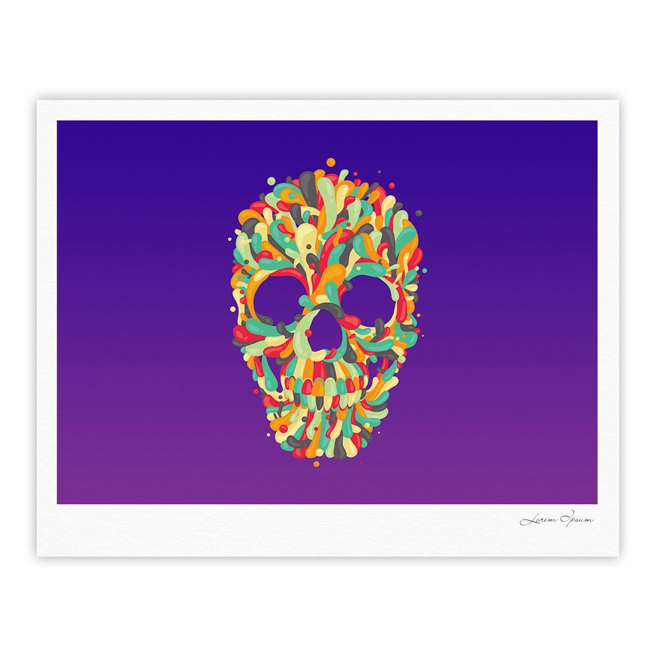 "Roberlan ""Jelly Skull"" Purple Multicolor Fine Art Gallery Print"