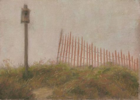 Bird House in the Dunes Landscape Painting, painting by artist Nancy Poucher