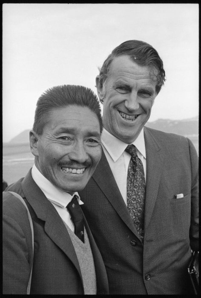 Sir Edmund Hillary and Sherpa Tenzing Norgay in Wellington, taken ...