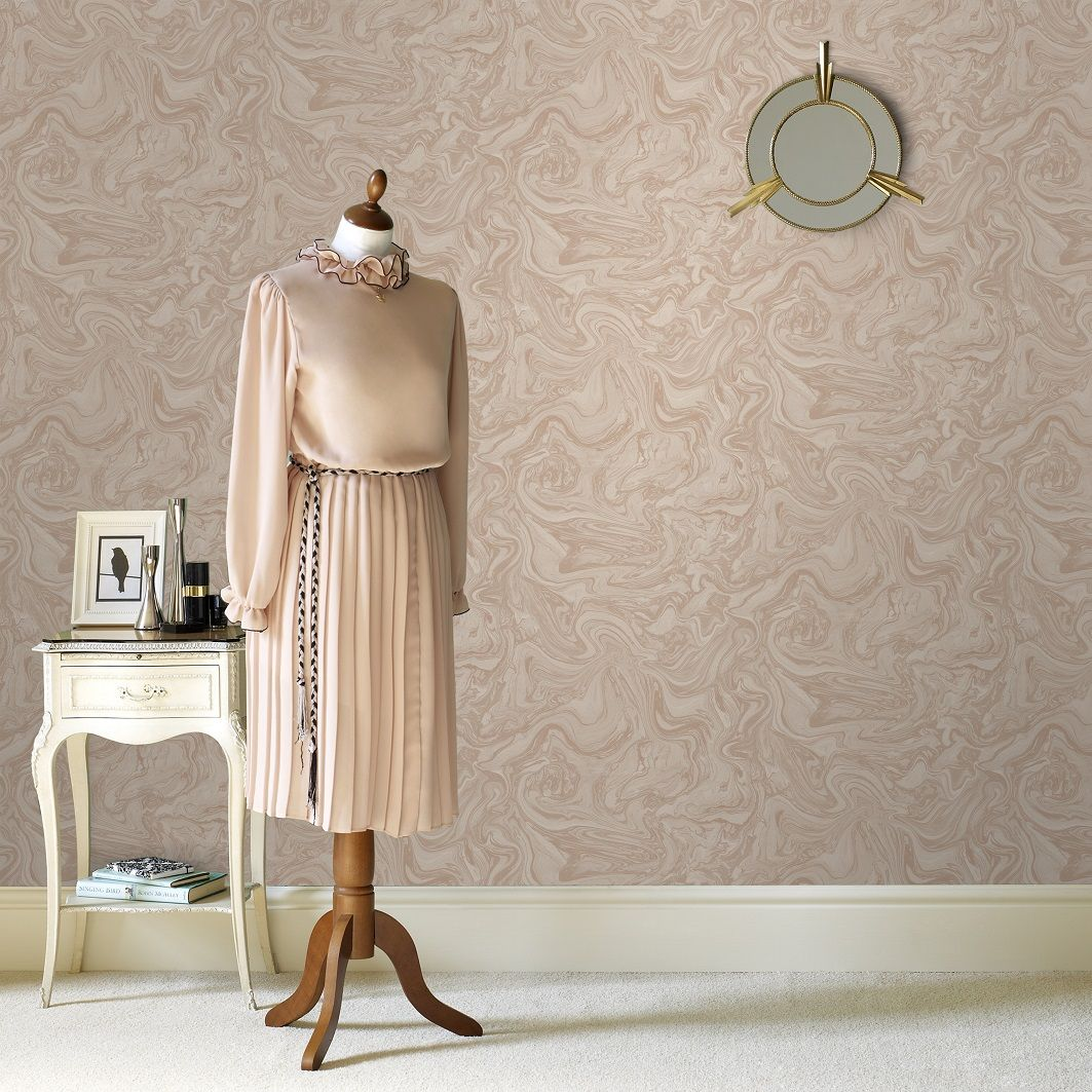 Graham Brown 100537 Marbled Pebble Rose Gold Wallpaper Roll