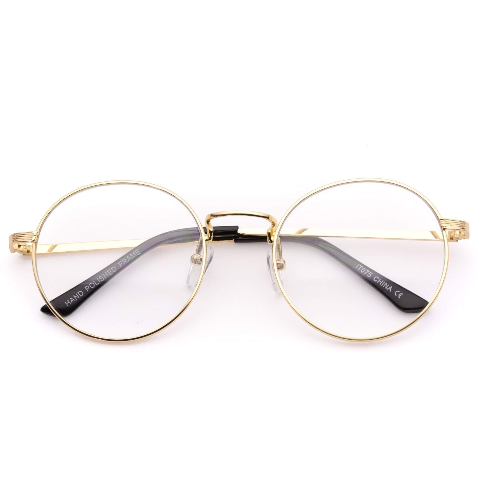 Blaine Round Metal Clear Glasses - Trendy Hipster Round Frame Clear ...