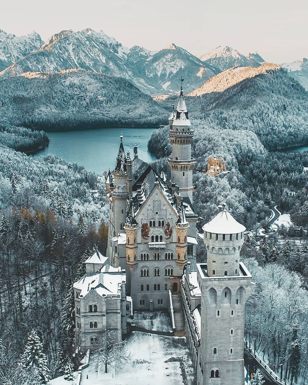 Today In The Morning Some Snow Covered The Castle Allgau Bavaria Visitbavaria Castle Folkscenery Germany Castles Neuschwanstein Castle Castles To Visit