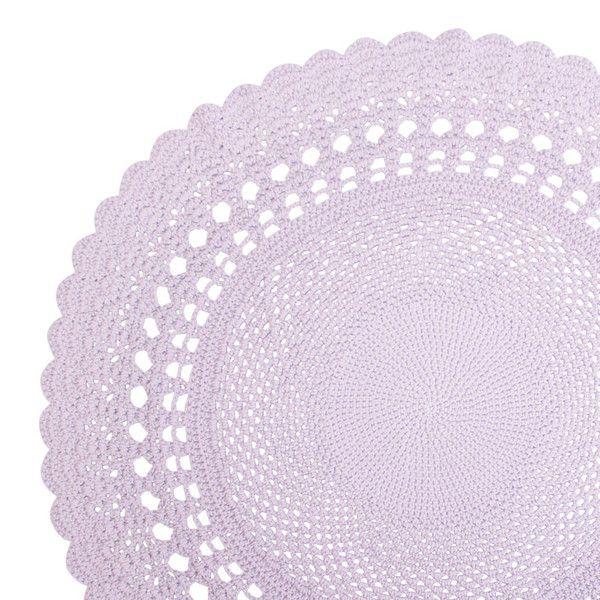 Sebra hæklet rundt gulvtæppe, lyserød - 120 cm, dkk 699