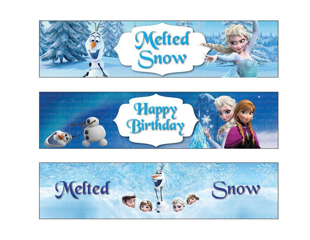 Disney Frozen Water Bottle Labels Disney Frozen Birthday Party Frozen Themed Birthday Party Disney Frozen Birthday