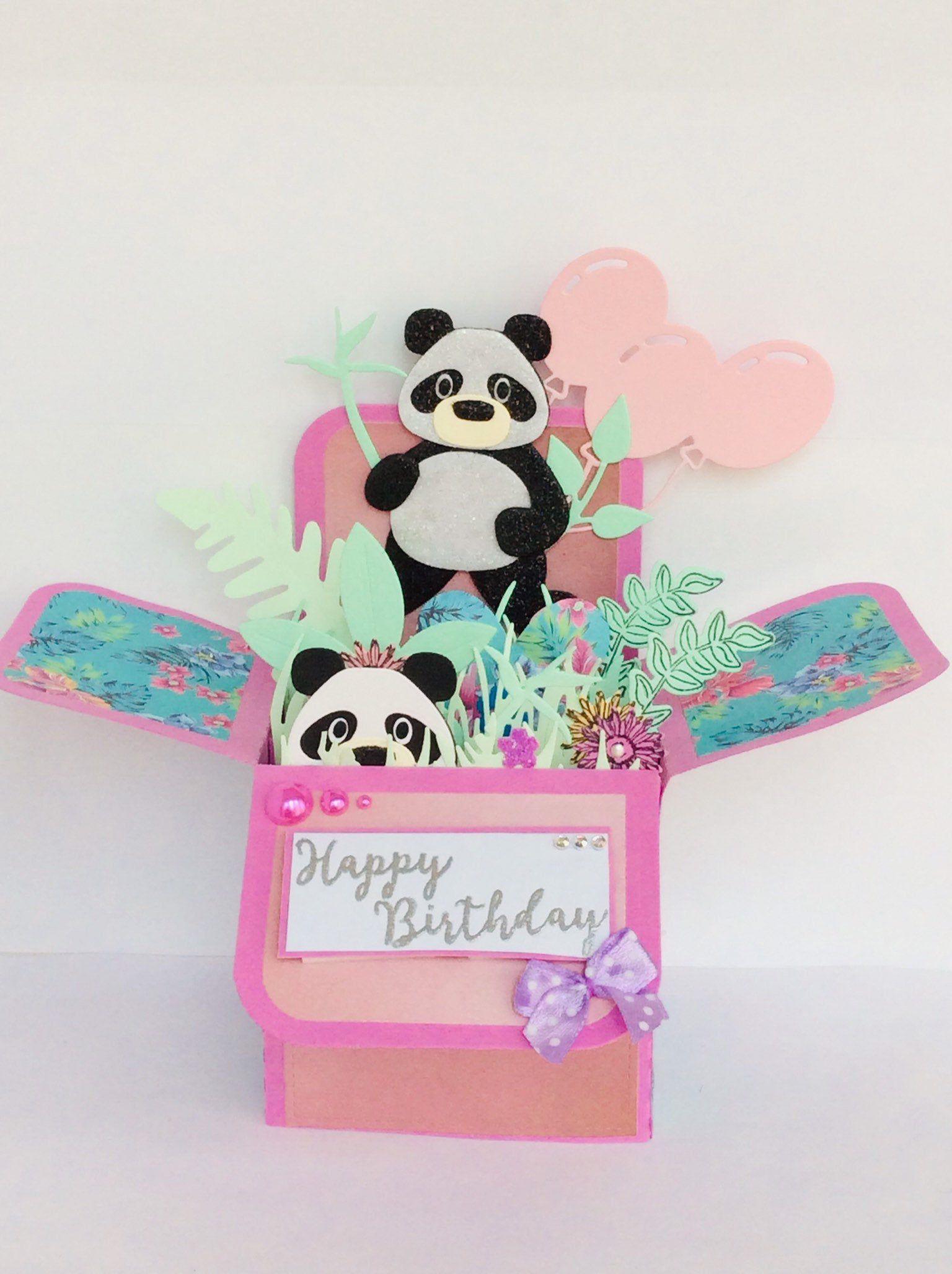 Panda Happy Birthday 1st 3rd 21st 60th Panda Pop Up Card Etsy Boxed Birthday Cards Exploding Box Card Pop Up Box Cards