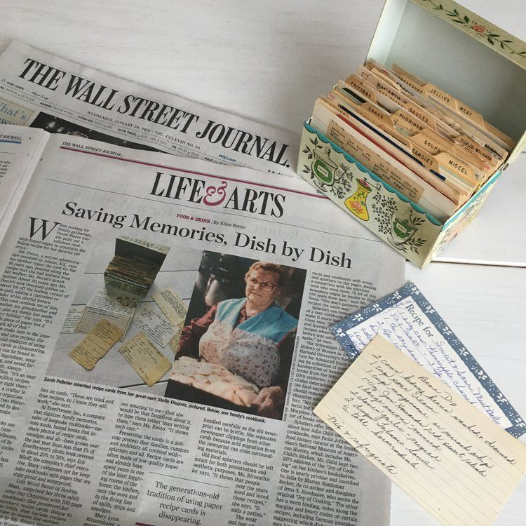 inheriting family recipes interview in the wall street on wall st journal id=17240