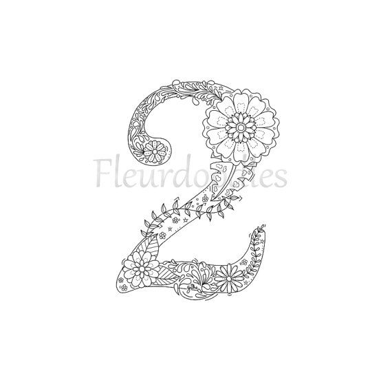 Adult Coloring Page Floral Numbers 2 Two Hand By Fleurdoodles