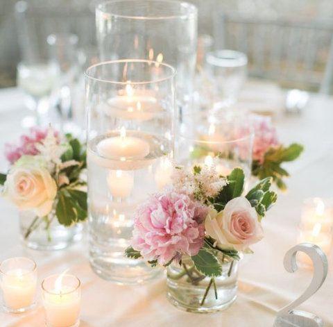Receber 10 arranjos de mesa que amamos Amar, Mesas y Velas - centros de mesa para boda con velas flotantes