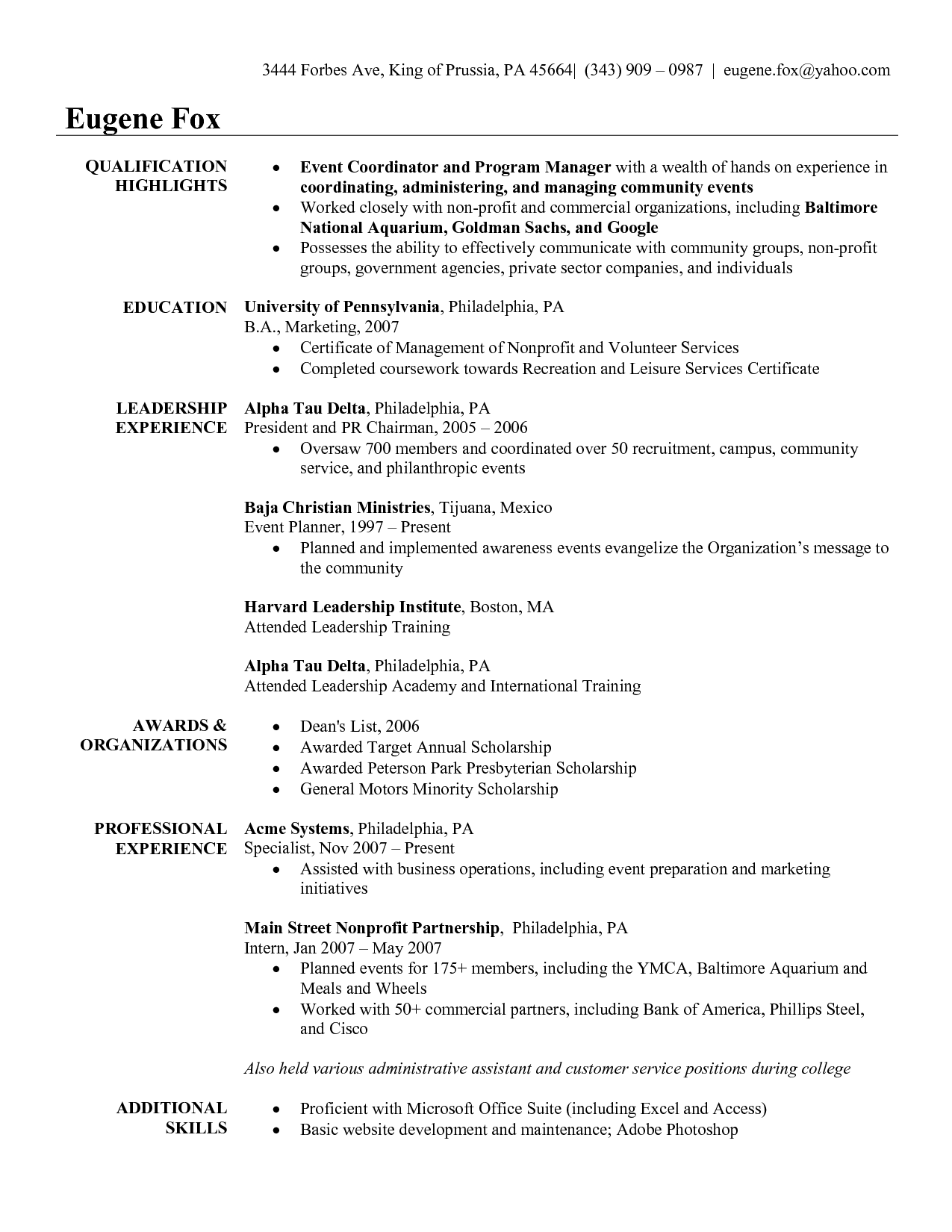 Special Events Coordinator Resume Portablegasgrillweber Before