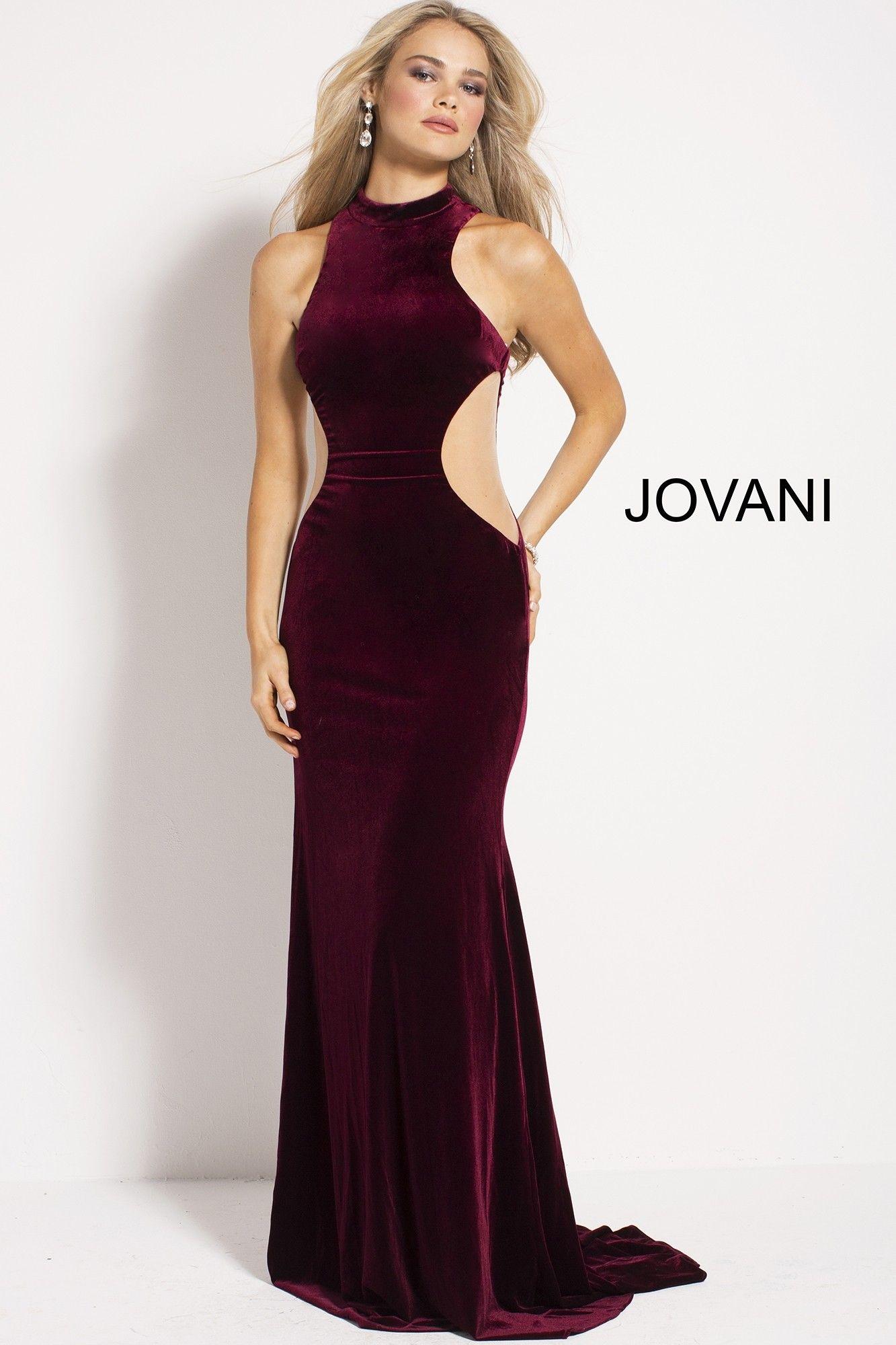 Jovani velvet gown with sheer sides velvet gown military