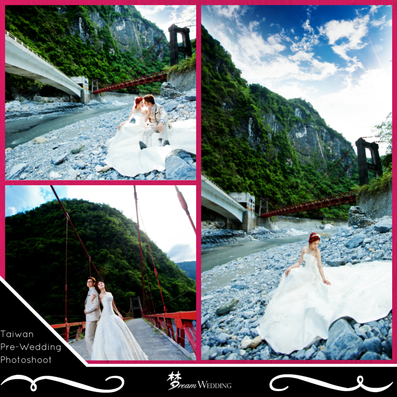pre wedding photography singapore deal%0A Beautiful bride in a long train white wedding gown and groom in golden  white groom suit
