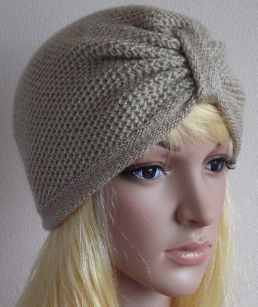 Knitted women's turban hat.    This hat fits ladies head of 54-58 cm (21-23 inches) in circumference.  Convo me please if you would like different ...