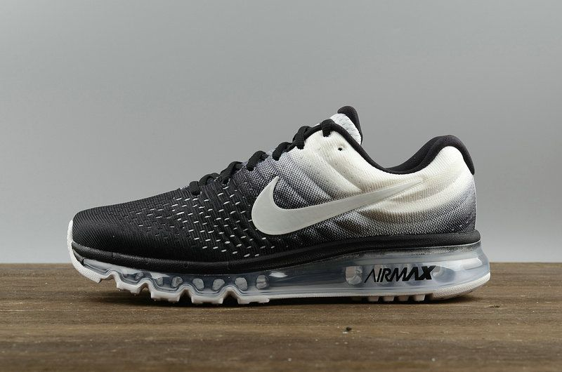 Youth Big Boys Nike Air Max 2017 Mesh Breathable Running Shoes 849559 010  Black White ed33afd13