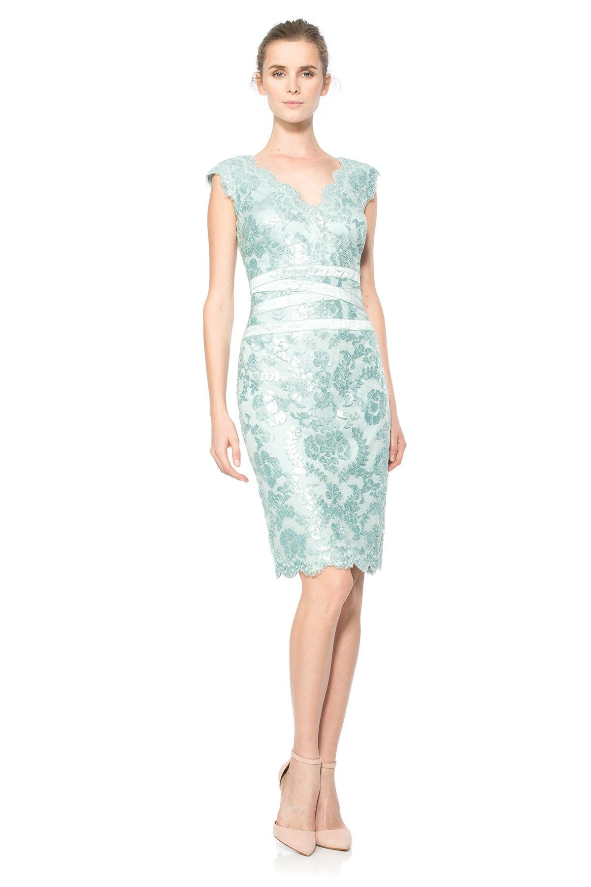 4d83d099 Paillette Embroidered Lace Banded Dress in Mint | Tadashi Shoji ...