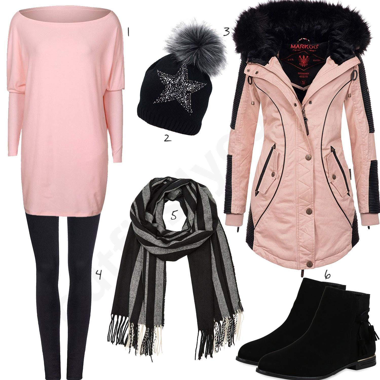 Schwarzes Winteroutfit mit rosa Strickpullover und Jacke