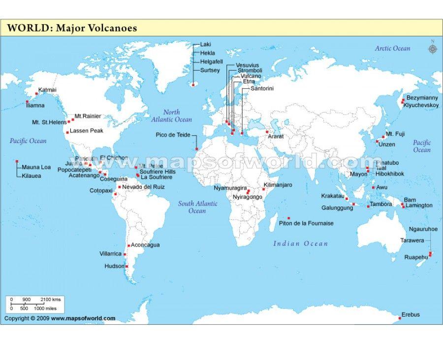 Buy World Map of Volcanoes Online Download Online World Map Pinterest
