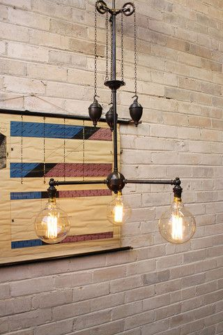 over stairs chandelier pulley light traditional and industrial