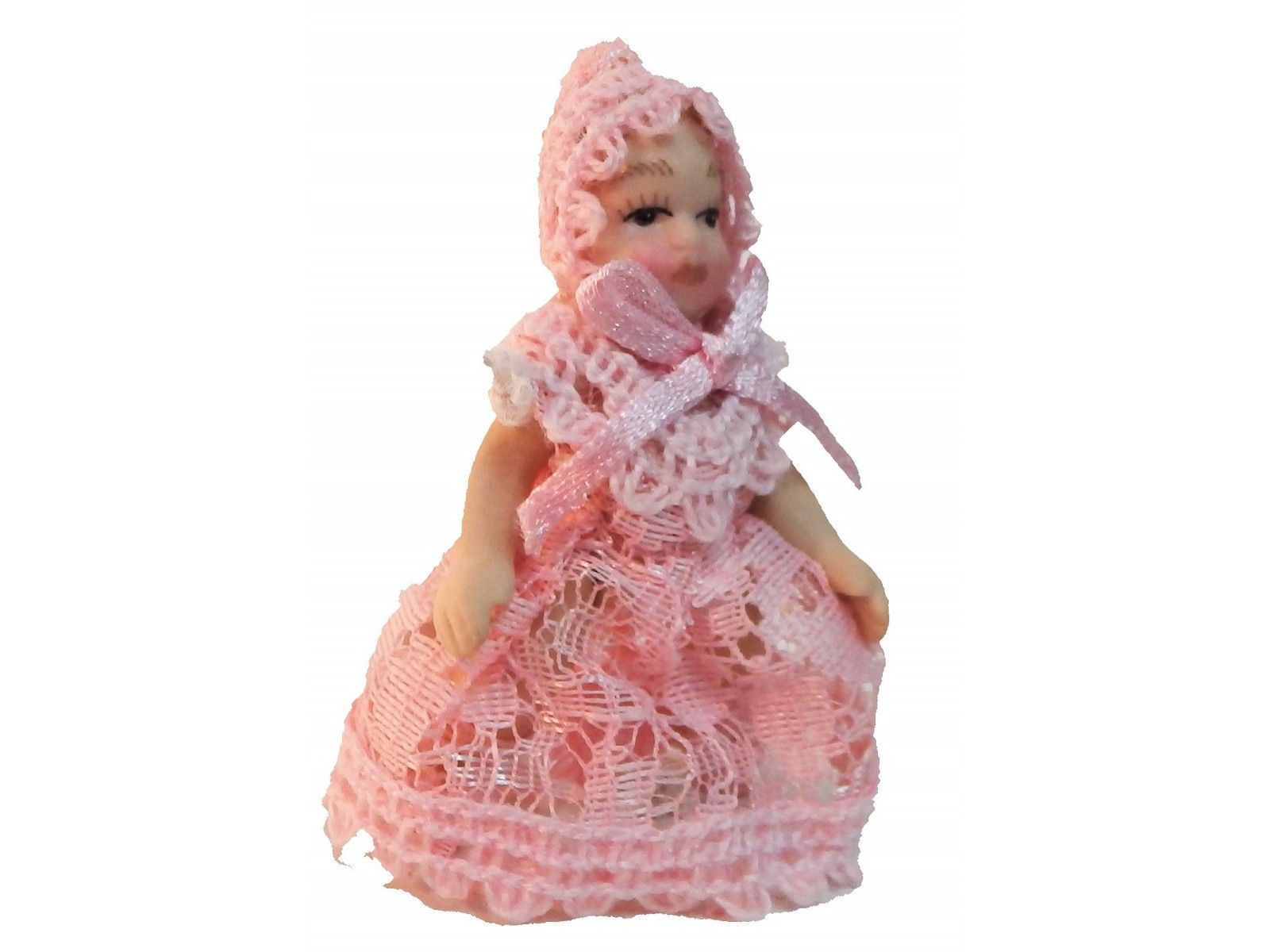 1//12 Porcelain Baby Doll in Lace Dress Dolhouse Miniature People Figurines