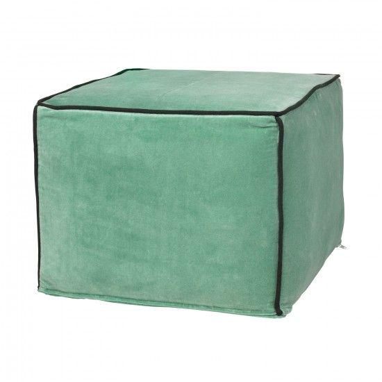 MONOQI   Square Velvet Pouf - Green
