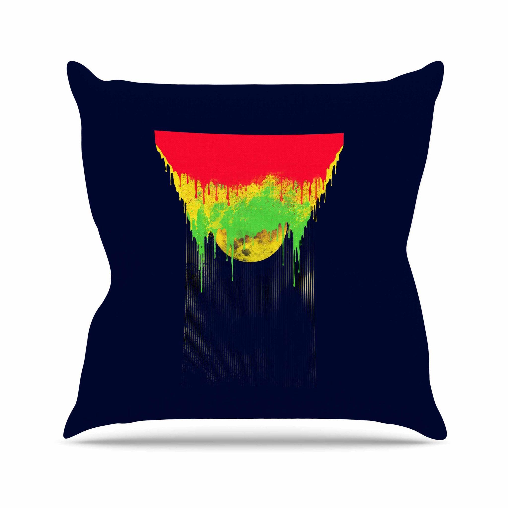 "BarmalisiRTB ""Began Closed"" Red Yellow Throw Pillow"