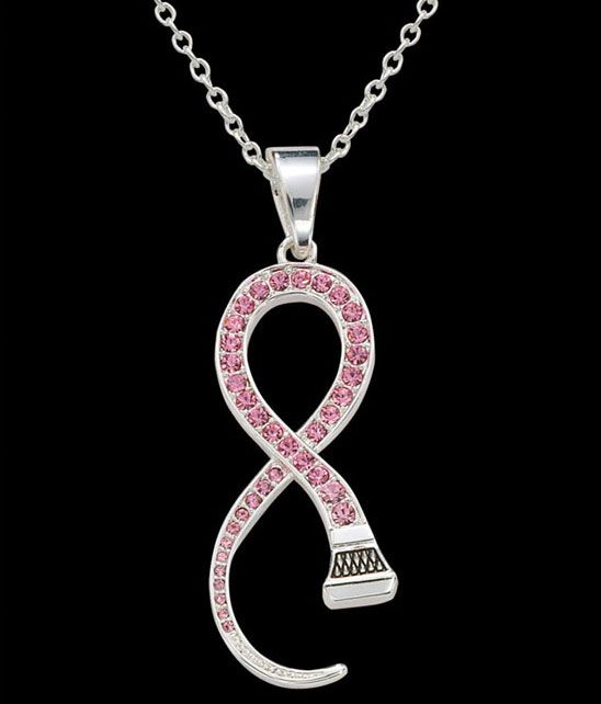 Very Cool Montana Silversmith Pink Ribbon Crystal Necklace Equine Jewelry Cowgirl Jewelry Dream Jewelry