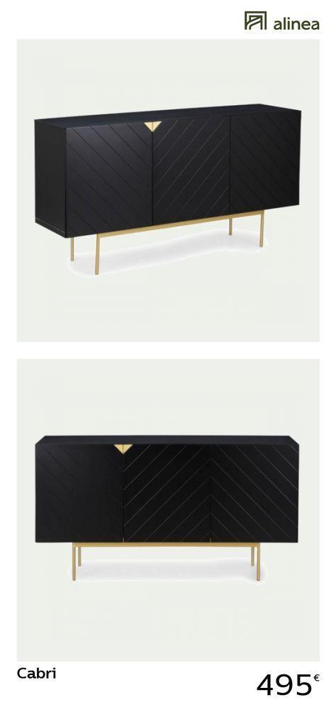 Cabri Buffet 3 portes coloris noir et doré L166cm Pinterest