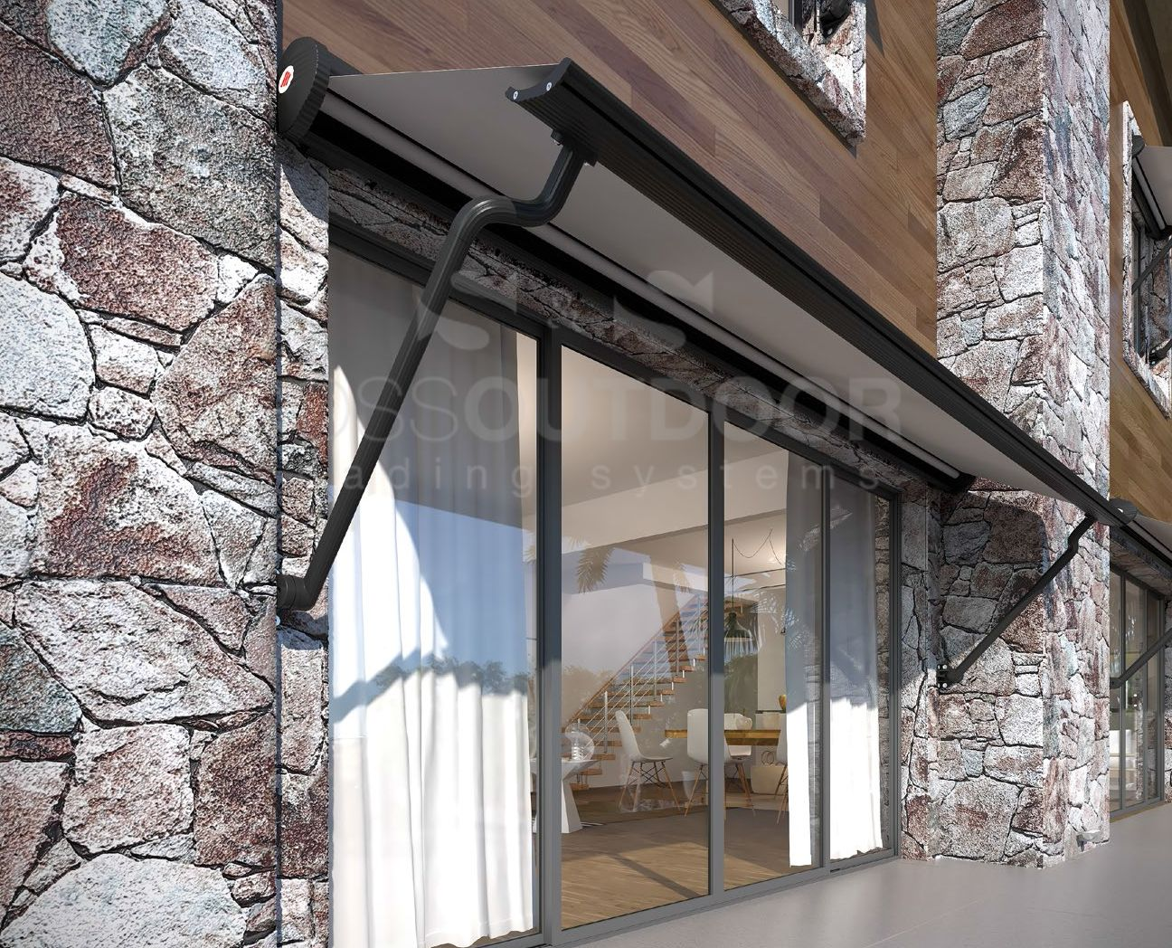 Victorian Style with Drop Arm System | Awning shade ...