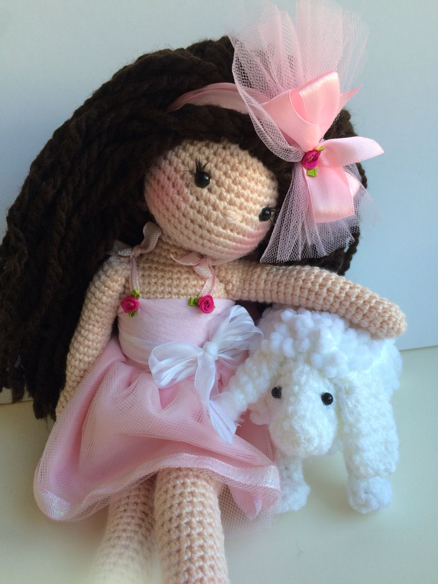 """18"""" Crochet doll and sheep ♡ lovely doll"""