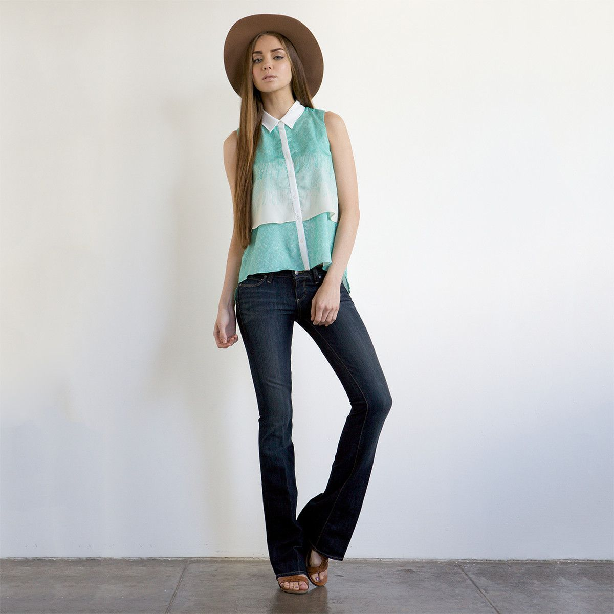 Free shipping for the next 48 hours!  Fab.com | Two-Layer Blouse Ocean