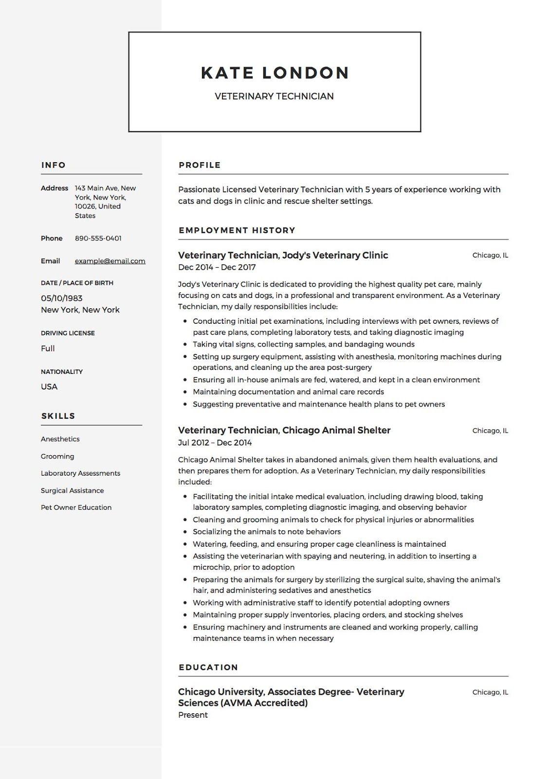 vet tech resumes samples 2019 vet tech resume samples 2020