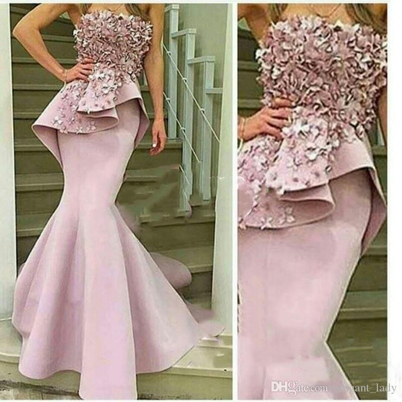 8d0bcdf24a77 3D Floral Pale Pink Mermaid Prom Dress Off the Shoulder Strapless Hand-Made  Flowers Long Evening Dresses Robe De Soiree Longue Overskirt Evening Dress  ...