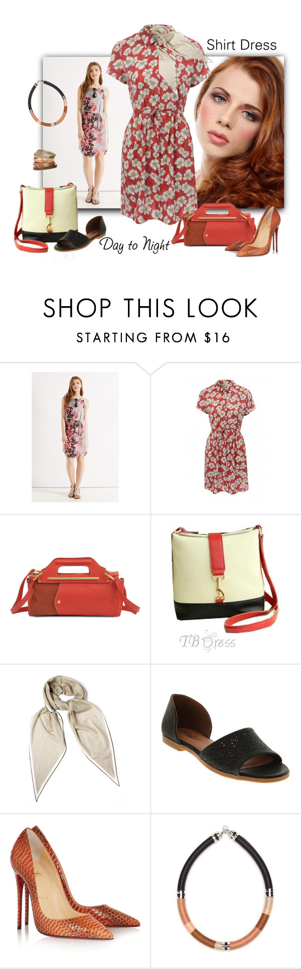 """""""Day to Night: Shirt Dress"""" by ysmn-pan ❤ liked on Polyvore featuring See by Chloé, Retrò, Hermès, Lucky Brand, Christian Louboutin, Lizzie Fortunato, Wallis, DayToNight and shirtdress"""