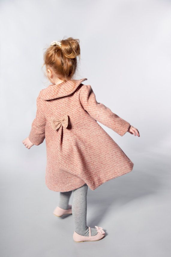 ed76284bb6d734 Girls Wool Coat in Pink Features Peter Pan by VesperClothier, $130.00