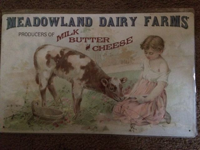 Meadowland Dairy Farms Milk Butter Cheese Reproduction Tin Sign Butter Cheese Dairy Farms Retro Sign