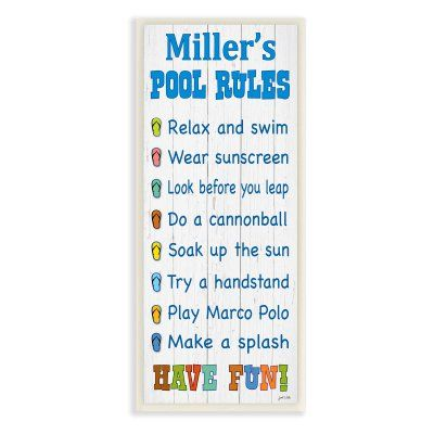 Swimming Pool Plaques Signs Wall Decor Stupell Decor Personalized Pool Rules With Sandals Wall Plaque