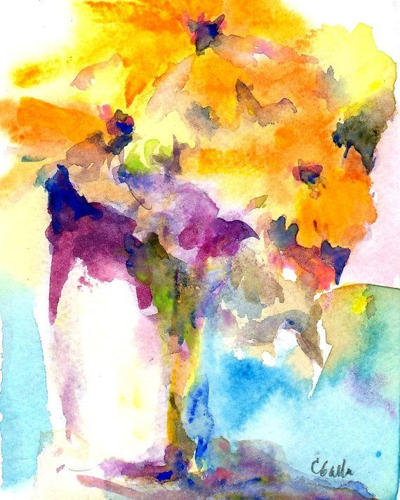 Giclee Prints Watercolors Prendergast | Watercolor Flowers Giclee Print in Gold Orange and Yellow 8x10 ...
