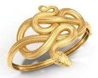 Браслет в форме змеи из желтого золота