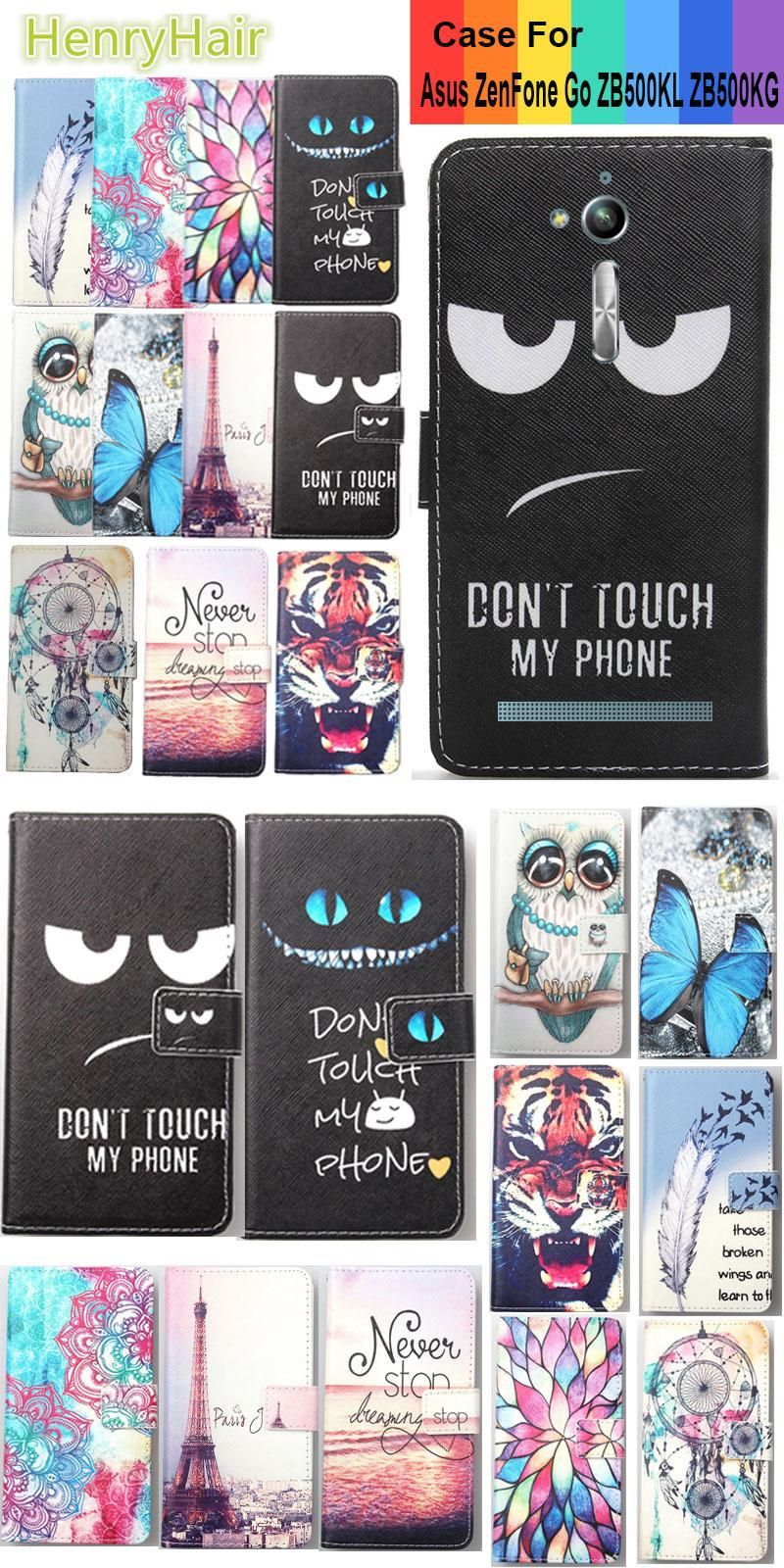 Top Selling 11 Colors Cartoon Painting PU Leather Magnetic clasp Wallet Cover For Asus ZenFone Go ZB500KL ZB500KG Case