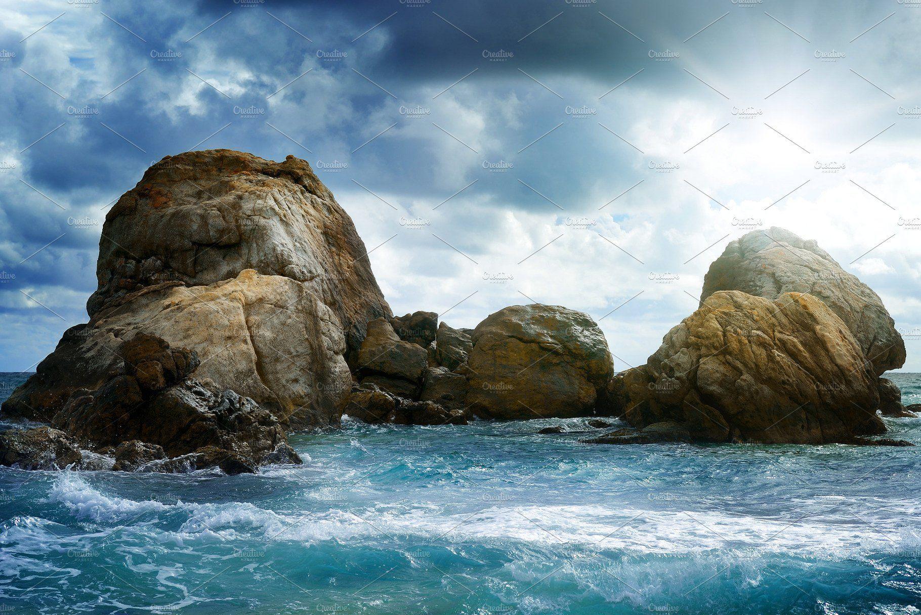 Sea Landscape With Rock By Serg64 On Creativemarket Landscapewithrocks Landscaping With Rocks Landscape Landscape Design