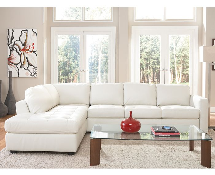 Denver White Leather Sectional With Chaise By Natuzzi