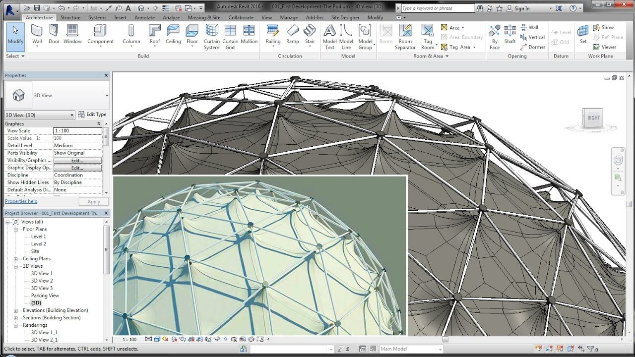BIM - Revit Adaptive Component 03B Geodesic Dome Steel l