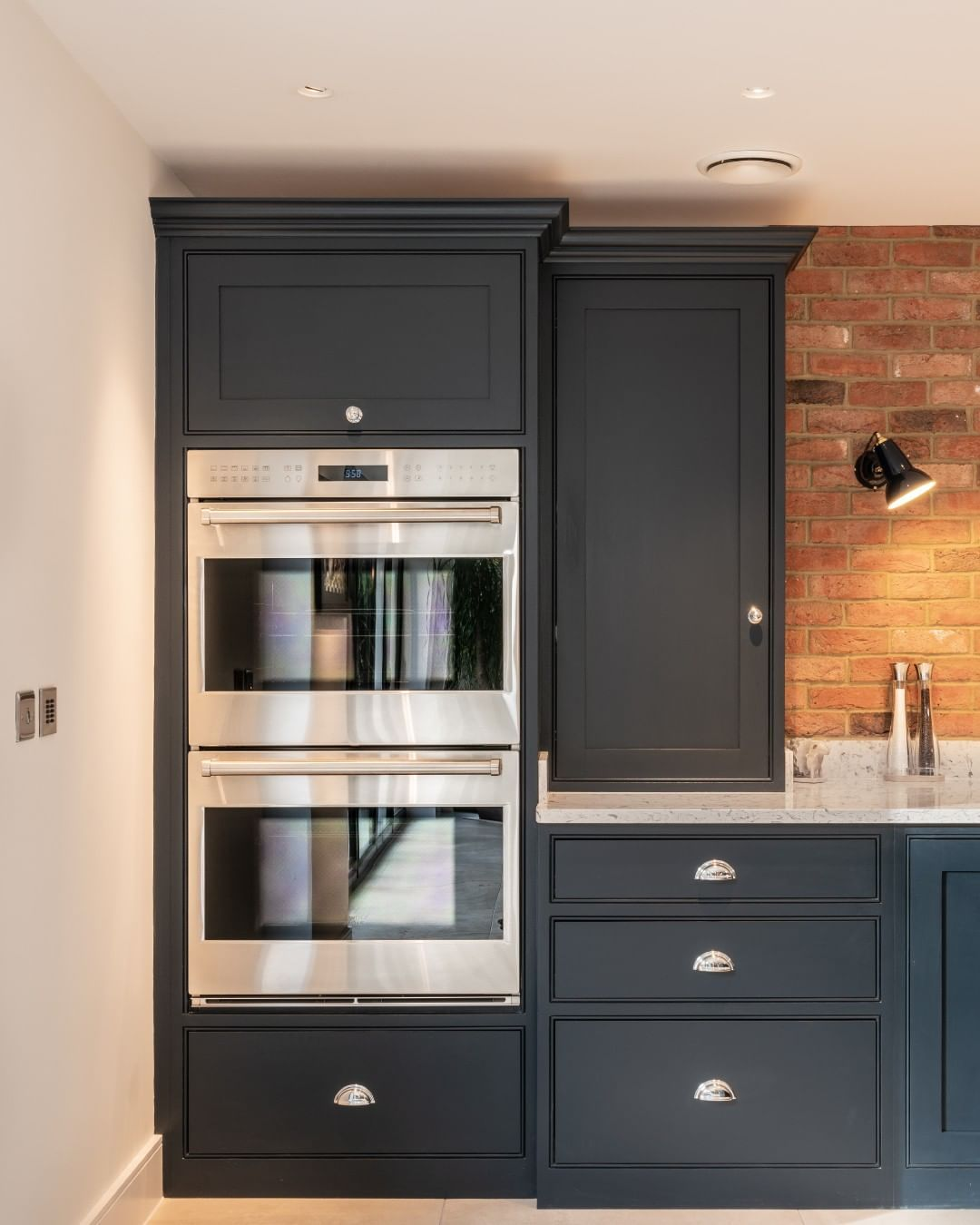 Handmade Kitchen Company On Instagram Our Hutton Project In Brentwood Features A Selection Of Wolf A Double Oven Kitchen Exposed Brick Kitchen Built In Ovens