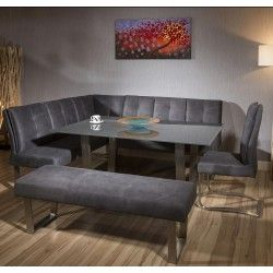 Luxury 8 Seater Grey Suede Corner L Bench Chair Glass Top Dining Set Corner Dining Table Corner Bench Dining Set Dining Room Bench
