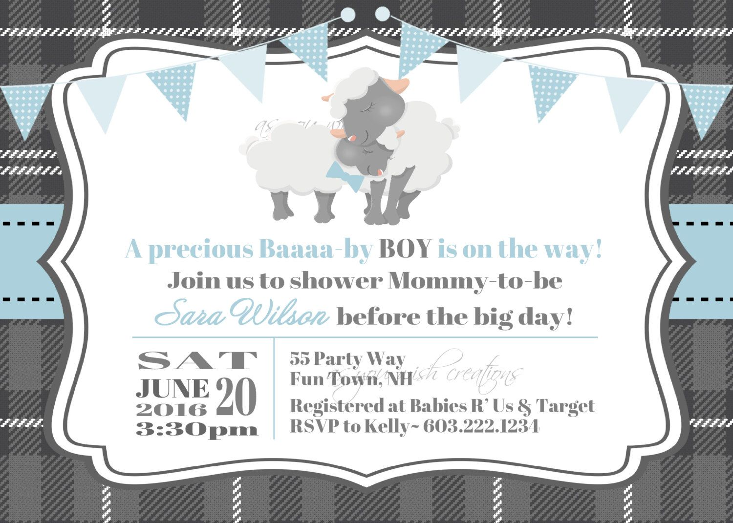 Lamb Sheep Baby Shower Invitations Gender neutral wish cardsWishes ...