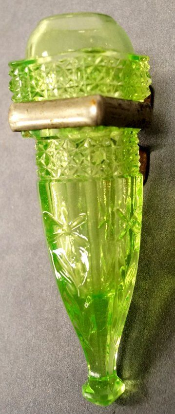 Antique Vaseline Uranium Pattern Glass Car Vase With On Glass