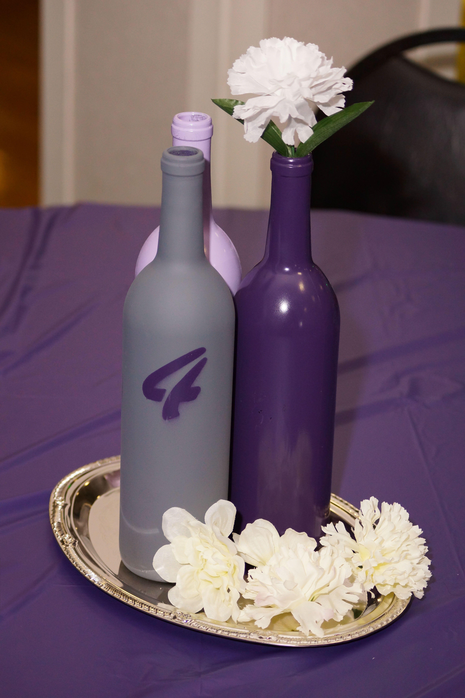 Wedding Centerpiece Spray Paint Wine Bottles My Wedding