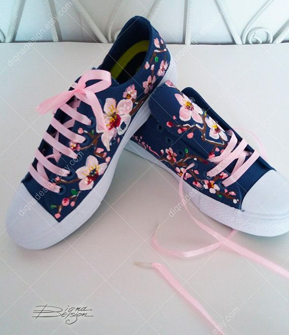 Sakura Sneakers, Cherry Blossoms Shoes, Hand Painted